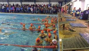 atletas na agua da piscina Maria Astrid Dubard no Bairro Julio Mesquita.